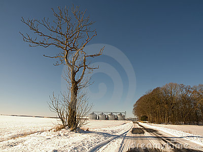 Winter road and farm