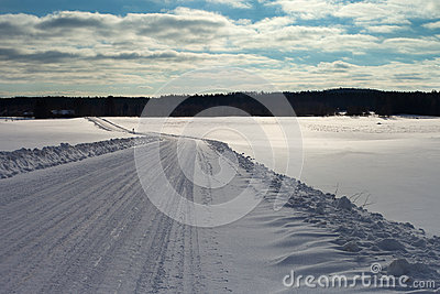 Winter road in Latvia, Europe.