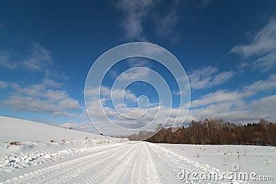 Winter road in Latvia, Europe.