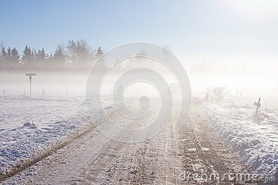 Winter road with off-road car