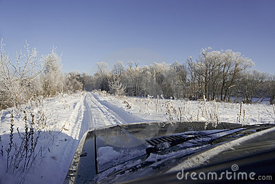 Winter road scenery