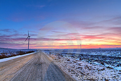 Winter road at sunset
