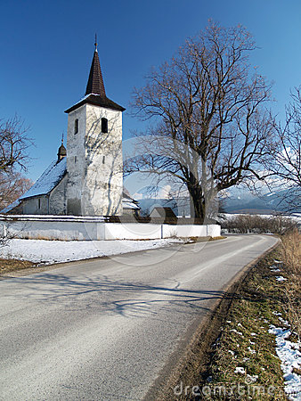 Free Winter Road To Church In Ludrova Royalty Free Stock Photo - 32924825
