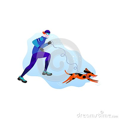 Winter running concept. Young athletic man with dog doing jogging. Pet with a leash and collar in flat style Vector Illustration