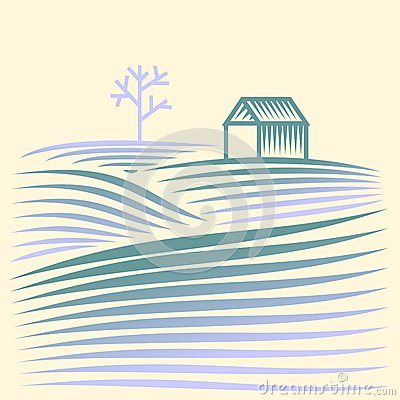 Free Winter Rural Landscape With Fields And House Stock Photo - 28679880