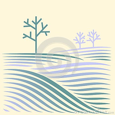 Free Winter Rural Landscape With Fields And Tree Stock Photography - 28679892