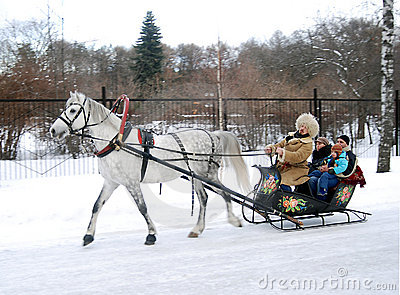 Winter Russian fun, sleigh pulled by horse Editorial Stock Photo