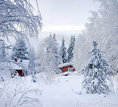 Free Winter S Tale. Red Finnish Cottage Stock Photography - 16679322