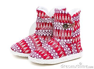 Winter s warm domestic slippers from a sheepskin