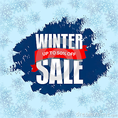 Winter sale badge, label, promo banner template. Up to 50% OFF d Vector Illustration