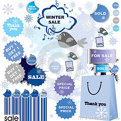 Winter sale-set of stickers and labels
