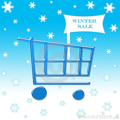 Free Winter Sale Shopping Cart Royalty Free Stock Photography - 1354347