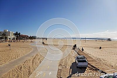 Winter Santa Monica beach scene