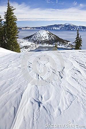 Winter Scene at Crater Lake Volcano Stock Photo