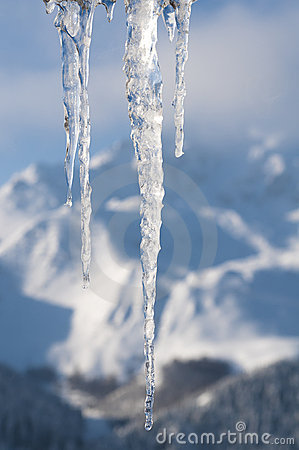 Winter scene with ice and snow