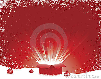 Winter Scene with Light Burst Gift Box