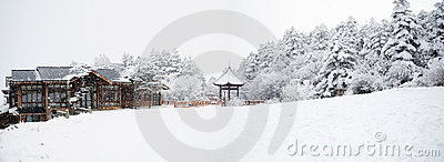 Winter scene at mt. emei