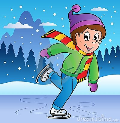 Winter scene with skating boy