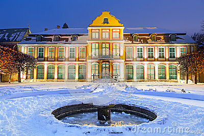 Winter scenery of Abbots Palace in snowy park