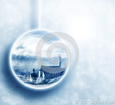 Winter scenery in christmas ball