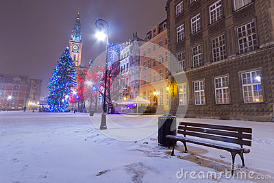 Winter scenery with empty bench in Gdansk