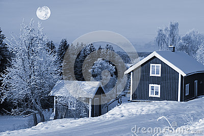 Winter scenery and full moon