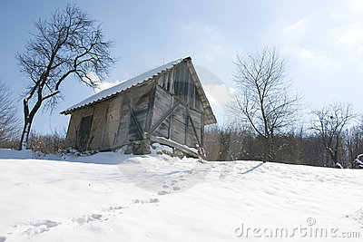 Winter scenery hut
