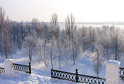 Winter  scenery in park