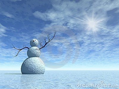 Winter scenery with snowman