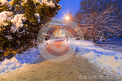 Winter scenery of snowy park in Gdansk