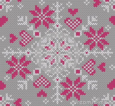 Fashionable knitted nordic pattern. Decorated with hearts.