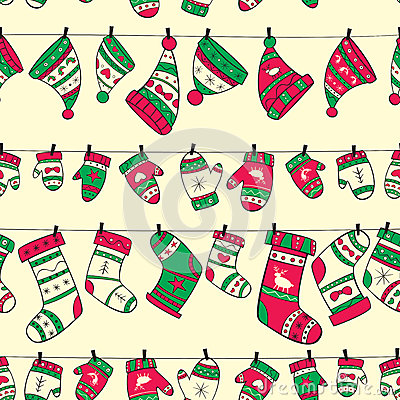 Free Winter Seamless Pattern With Red Green Socks Mitte Royalty Free Stock Photos - 35563548