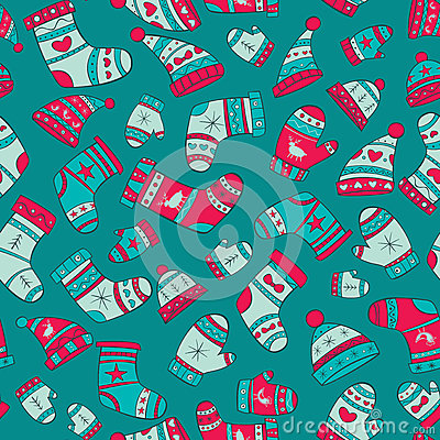Free Winter Seamless Pattern With Socks, Mittens And Ha Royalty Free Stock Image - 35563596