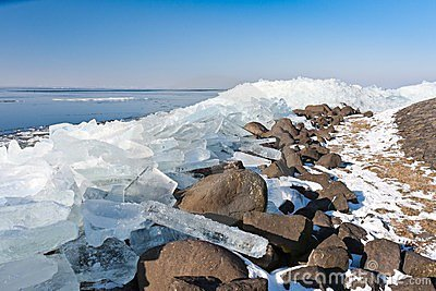 Winter seascape with ice hummocks
