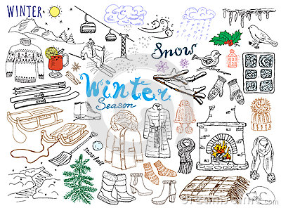 Winter season set doodles elements. Hand drawn set with glass hot wine, boots, clothes, fireplace, mountains, ski and sladge, warm Vector Illustration