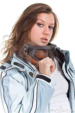 Free Winter Sexy Girl With Grey Sports Suit And Glasses Stock Image - 12606801