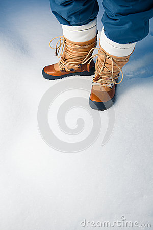 Winter shoes in snow