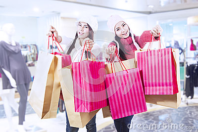 Winter shopping with friends at mall