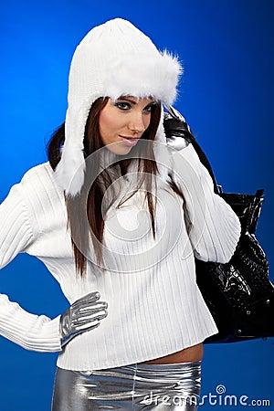 Winter shopping woman