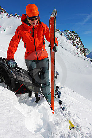 Winter ski ascent