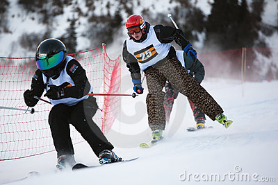 Winter ski and bordercross competition Editorial Stock Image