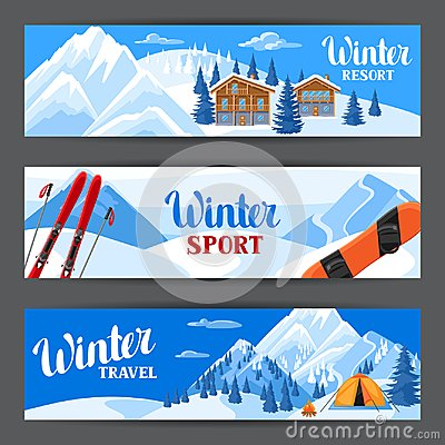 Free Winter Ski Resort Banners. Beautiful Landscape With Alpine Chalet Houses, Snowboard, Snowy Mountains And Fir Forest Royalty Free Stock Photography - 101615697
