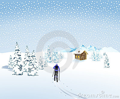 Winter skier in snowstorm