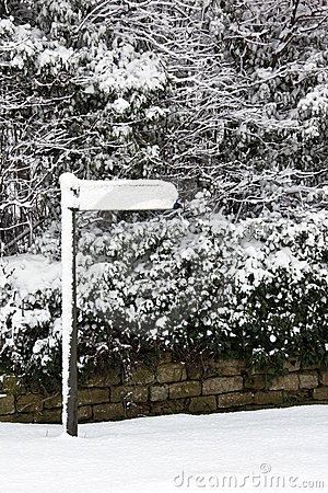 Free Winter Snow Covering A Sign - England Royalty Free Stock Image - 15293106