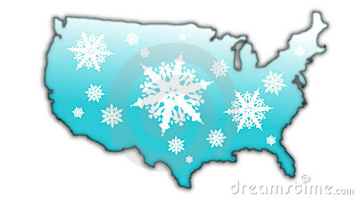 Winter snow flake Map USA