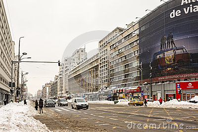 Winter Snow On Gheorghe Magheru Boulevard Downtown Bucharest Editorial Image