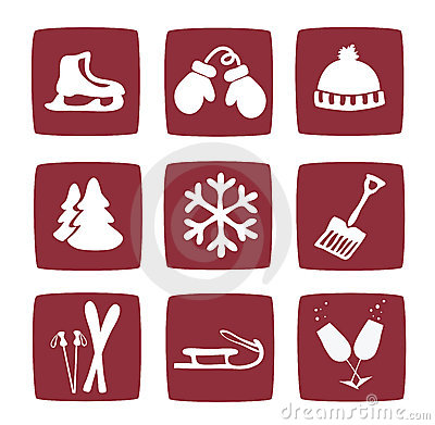 Winter and snow icons set