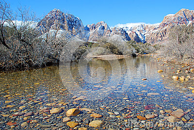 Winter and snow melt runoff in Red Rock Canyon near Las Vegas. Nevada.