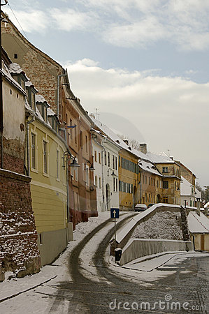 Winter snow in old town of Sibiu