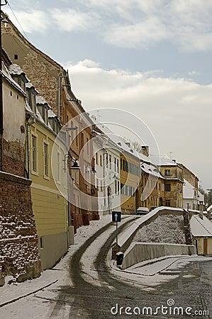 Winter snow in old town of Sibiu
